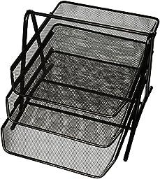 Sparco 90206 3-Tier Steel Mesh Desk Tray, Black (11 5/8\