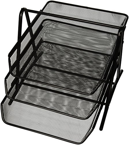 Sparco 90206 3-Tier Steel Mesh Desk Tray, Black (11 5/8