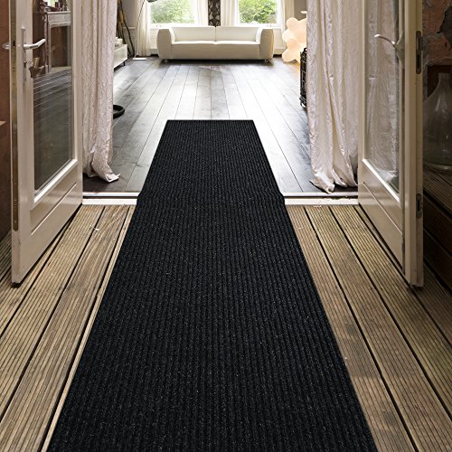 12'6' Runner (iCustomRug Indoor/Outdoor Utility Ribbed Carpet Runner And Area Rugs In Dark Charcoal, Many Sizes Available)