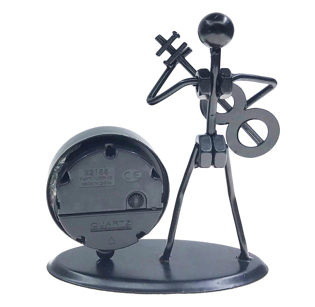 Retro Style Iron Art Crafts Music Man Figure Musician Statue with Elegant Desk /& Shelf Clock for Office Home Desk Decor Gift C61 Violin
