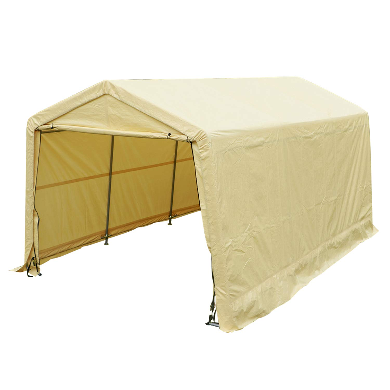 Sliverylake Auto Storage Shelter Car Garage Steel Carport Canopy Awning (10×15×8ft, Sand) AUSHG4096