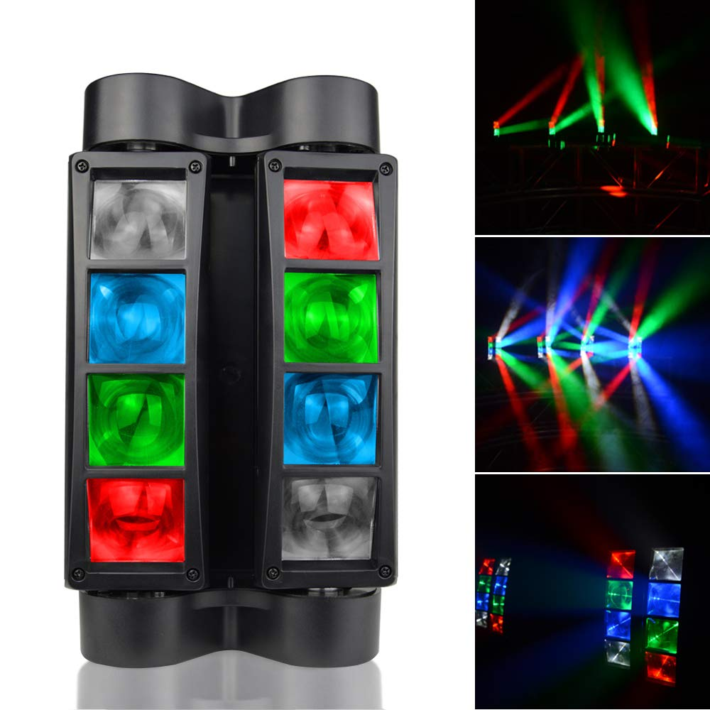 SevenStars Moving Head DJ Light, 8 Beams Spider LED Stage Light, RGBW 4 in 1 Spotlighting, Master-slave/DMX/Sound/Auto Control Modes, Professional for Wedding, Karaoke, Disco, Light Show and Events. by SevenStars