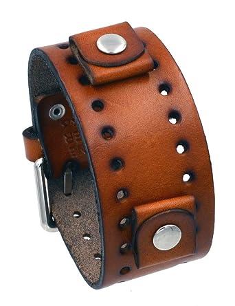 d17840ebd154c Amazon.com: Nemesis #BN-B Brown Wide Leather Cuff Wrist Watch Band: Watches