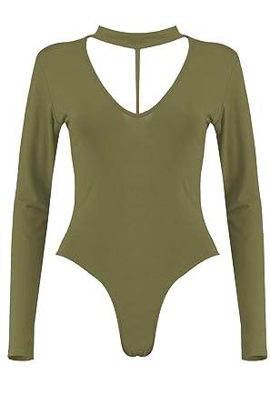 bfe47925902d The Celebrity Fashion Women Long Sleeve Bodysuit Choker Split Strap Neck  Slim Fit Leotard Top 8-22: Amazon.co.uk: Clothing