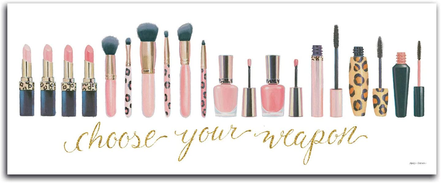 Pink, Black and Gold Make-up Line Up Choose Your Weapon Bedroom, Dorm, Bathroom Print; One 18x8in Paper Posters