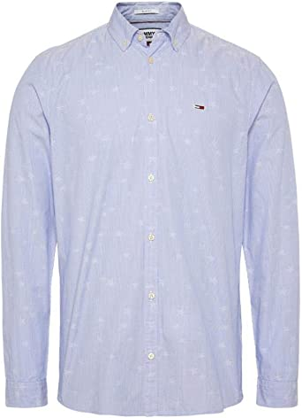 Camisa Tommy Jeans Novel Dobby Poplin Azul Hombre Large ...