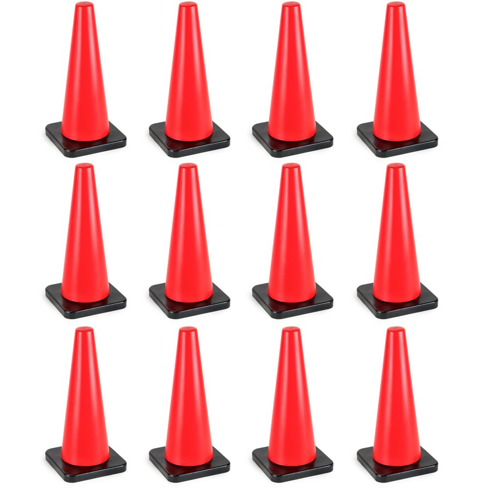 18'' High Hat Cones in Fluorescent Orange with Black Base for Indoor/Outdoor Traffic Work Area Safety Marker & Agility Sport Training by Bolthead Industrial (12-pack)