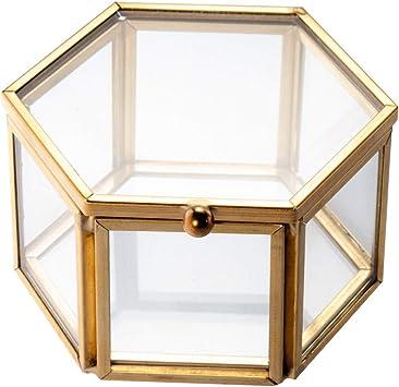 Feyarl Joyero de cristal para joyas con forma de anillo y aretes, caja de cristal preservada: Amazon.es: Bricolaje y herramientas