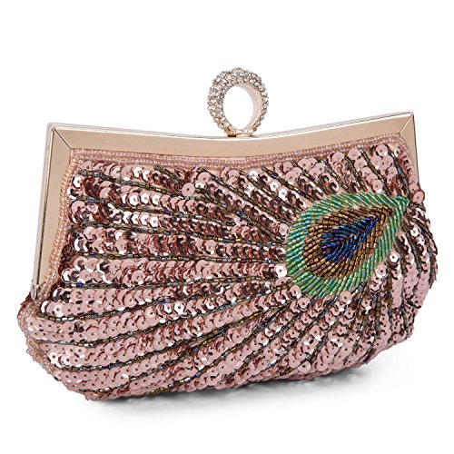 Clutch Woman Purse Green Pattern Hand Champagne Ceremony Baigio Bag Bag Bridal Bag Peacock Party Clutch Sequined Wedding wqAtC6xft