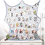 HAYATA Photo Hanging display with 40 Clip by Fishing Net Wall Decor - Picture Frames & Prints Multi Photos Organizer & Collage Artworks - Nautical Decorative Dorm Bedroom Decorations