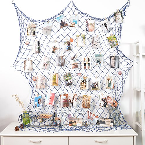 Photo Hanging display with 40 Clip by HAYATA - Fishing Net Wall Decor - Picture Frames & Prints Multi Photos Organizer & Collage Artworks - Nautical Decorative Dorm Bedroom Decorations (Decor Large Wall Nautical)