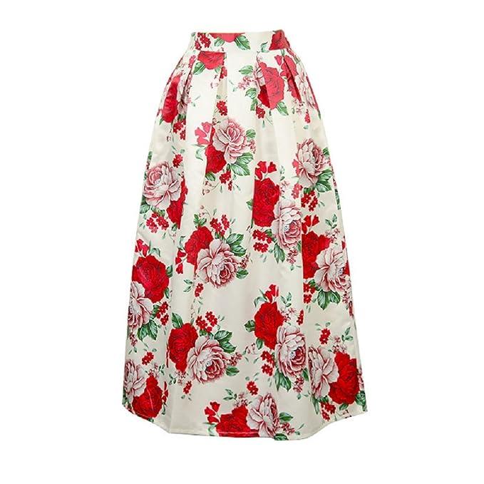 0abe5651e4 Oudan Falda para Mujer Falda Estampada de Flores Falda para Mujer con Cintura  Alta Falda Larga Elegante Falda a Media Pierna  Amazon.es  Ropa y accesorios