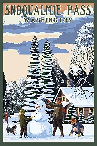 Snoqualmie Pass  Washington   Snowman Scene  24X36 Giclee Gallery Print  Wall Decor Travel Poster