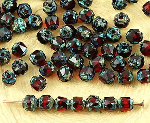 50pcs Picasso Crystal Dark Ruby Red Czech Glass Cathedral Faceted Fire Polished Beads Christmas 4mm