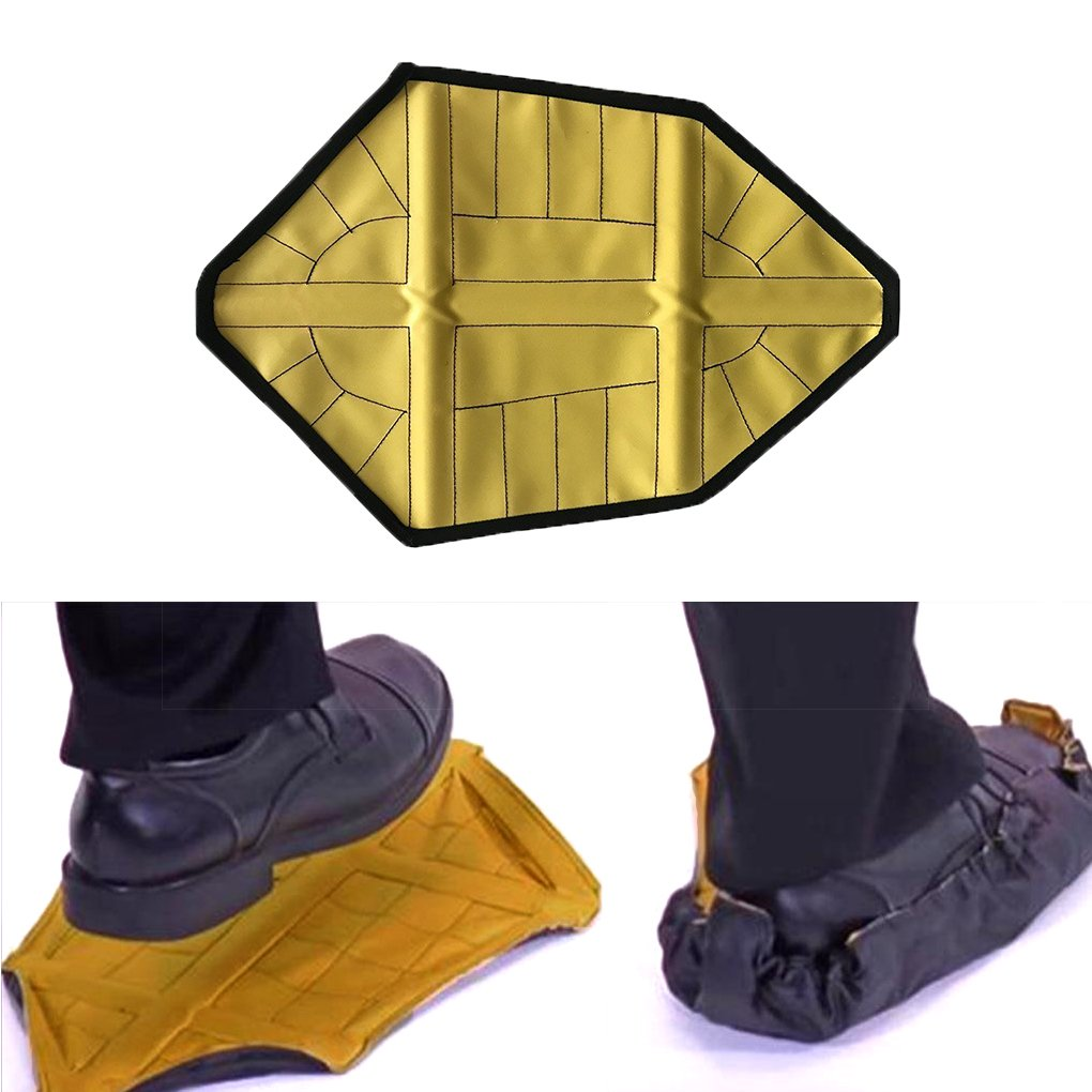 GeneralCare Step in Sock Shoe Cover Reusable, Hand-free Indoor Outdoor Work Boot Covers (PU Coating, Easy to Wipe), Fits Men's Size Up to 12 (1 Pair, Yellow) by GeneralCare (Image #1)