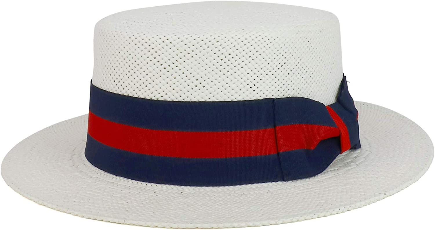 1940s Men's Hat Styles and History Trendy Apparel Shop Striped Grosgrain Ribbon Band Straw Fashion Boater Hat $39.99 AT vintagedancer.com