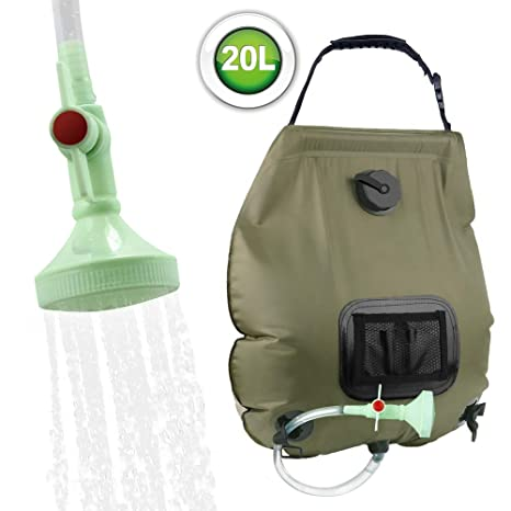 2414114d8a3 KIPIDA Solar Shower Bag,5 gallons/20L Solar Heating Camping Shower Bag with  Removable Hose and On-Off Switchable Shower Head for Camping Beach ...