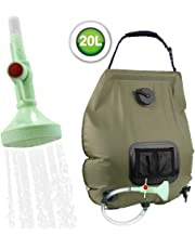 KIPIDA Solar Shower Bag,5 gallons/20L Solar Heating Camping Shower Bag with Removable Hose and On-Off Switchable Shower Head for Camping Beach Swimming Outdoor Traveling Hiking