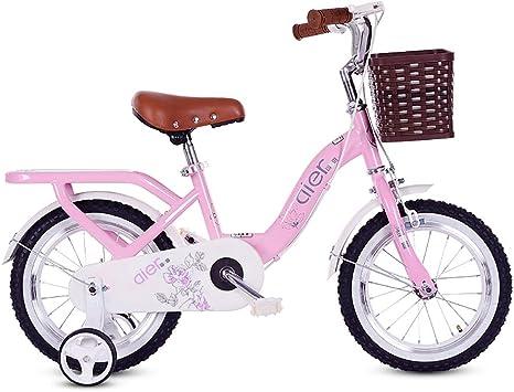 MLSH Bicicletas para niños, cestas y Ruedas de Entrenamiento de 12 y 14 y 16 y 18 y 20 Pulgadas. Bicicleta al Aire Libre, 2-13 años - Rosa: Amazon.es: Deportes y aire libre