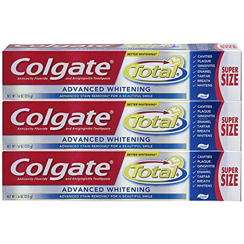Colgate Total Toothpaste, Advanced Whitening Paste - 7.6 ounce, 215g (3 Pack)