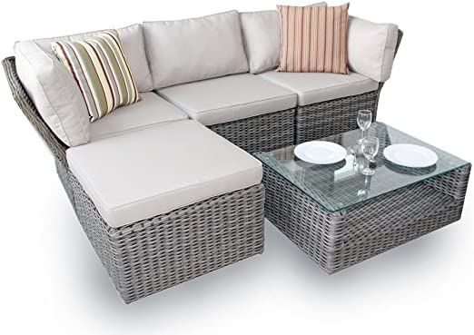 Outdoor Patio Couch Set, Deco Alfresco 5pc High Back Modular Corner Sofa Set Half Moon Rattan Amazon Co Uk Garden Outdoors