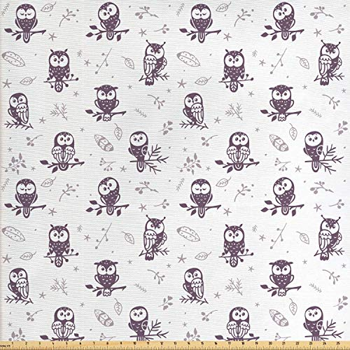 (Lunarable Doodle Fabric by The Yard, Cute Silhouette Owl Characters with Funny Faces Tree Branches Nature, Decorative Fabric for Upholstery and Home Accents, 1 Yard, Eggplant Pale Mauve White)