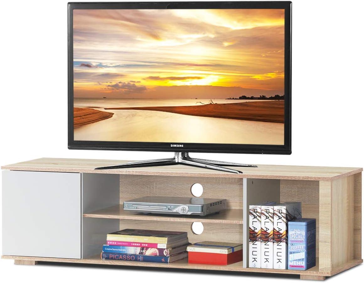 Tangkula Soporte de TV, unidad de medios de almacenamiento, armario de consola para el hogar, muebles, soporte de TV, compartimento abierto y estantes de visualización para un espacio de almacenamiento espacioso: Amazon.es: