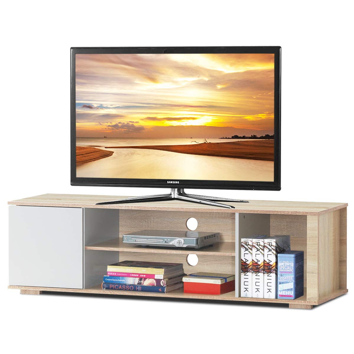 Tangkula TV Stand, Media Unit Storage Media Console Cabinet Home Furniture TV Stand, Open Compartment and Display Shelves for Spacious Storage Space (Natural) by Tangkula
