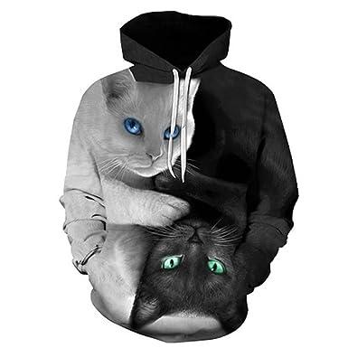 3D Hoodies Men Hooded Sweatshirts Two Cat 3D Print Hoody Casual Pullovers Streetwear Tops LMWY-