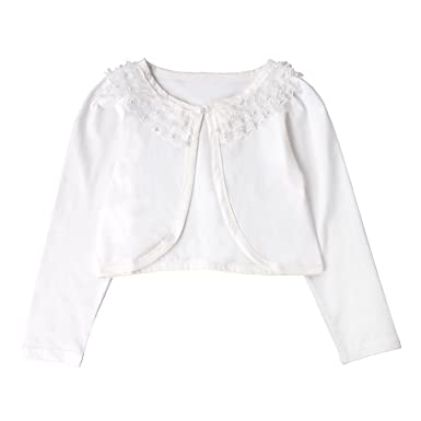 Amazon.com: Acecharming Girls Long Sleeve Beaded Flower Bolero ...