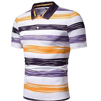 VRTUR Camiseta Casual Hombre Raya Impresa Cuello de Solapa Diseño ...
