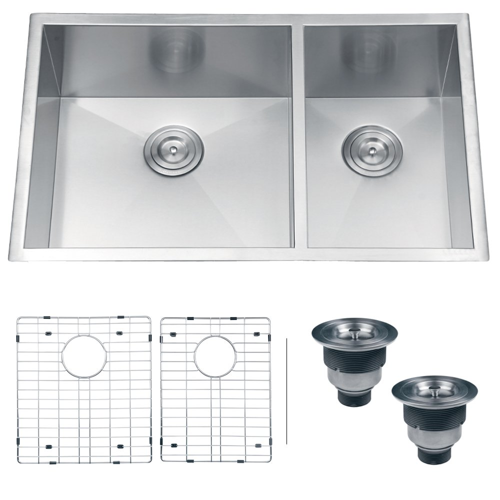 Ruvati Rvh7515 Undermount 16 Gauge Kitchen Sink Double Bowl 32 Stainless Steel Amazon Com