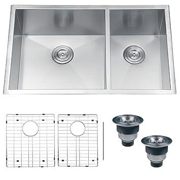 ruvati rvh7515 undermount 16 gauge kitchen sink double bowl 32 u0026quot  stainless steel ruvati rvh7515 undermount 16 gauge kitchen sink double bowl 32      rh   amazon com
