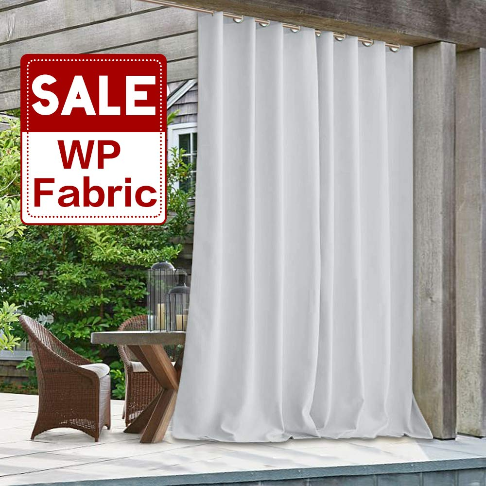 Patio Door Blackout Curtain Outdoor - Indoor Outdoor Water & Wind Resistant White Drapery Heat Insulated Shading Privacy Panel for Pergola/Room Divider, Greyish White, Wide 100'' x Long 108'', 1 Pc