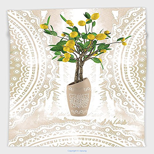 Vipsung Microfiber Ultra Soft Hand Towel-Floral Lemon Tree Traditional Tiles Paisley Vintage Style Tapestry Floral Flowerpot Ceramic Vase Pattern Theme Home Decor Satin Fabric Beige Yellow Green For H