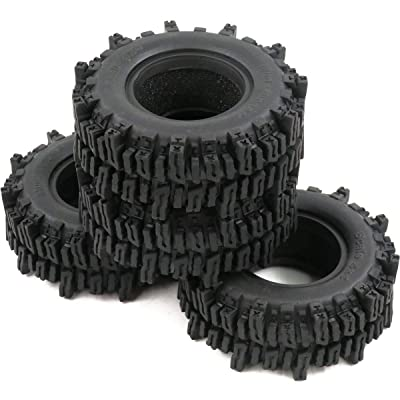 "hobbysoul 4pcs RC 1.9"" Mud Slingers Crawler Tires Height (OD): 93mm / 3.66inch Fit RC 1.9in Beadlock Wheels Rims: Toys & Games"