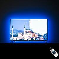 Rétro-éclairage LED LED s'allume derrière 50 éclairage de polarisation de télévision de 55 pouces, bande de lumière LED alimenté par USB pour TV avec kit de télécommande RF, 20 couleurs, 22 modes, (version personnalisée)