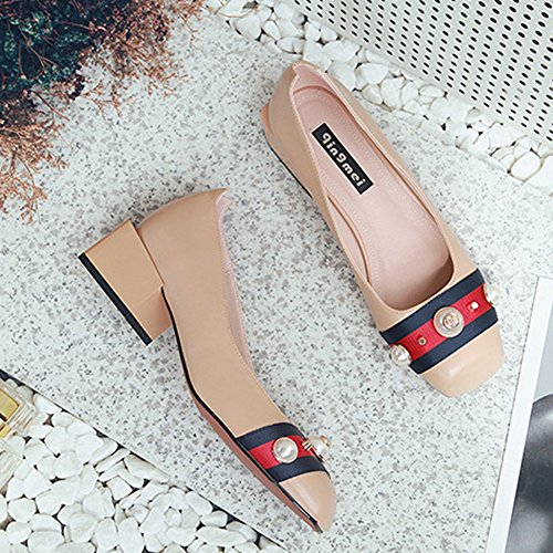 Mid Moccasins Comfort Square Toe T JULY Modern Shoes Color Loafers Slip Women's Casual Nude Heel On Penny qw1xPH