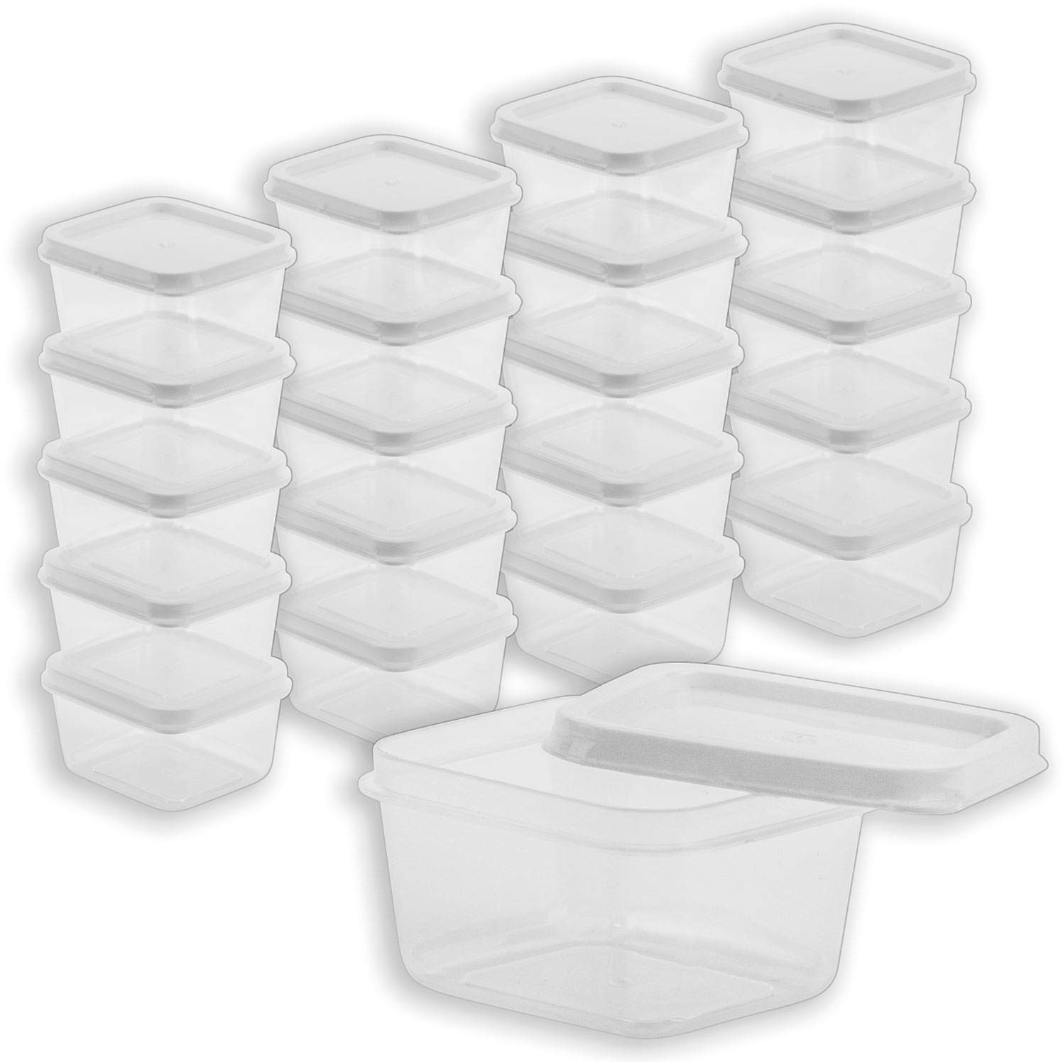 DecorRack 20 Plastic Rectangular Containers with Lids, 2oz, Craft Storage Mini Containers for Beads, Glitter, Slime, Paint or Seed Storage, Small Clear Empty Cups with Lids (20 Pack)