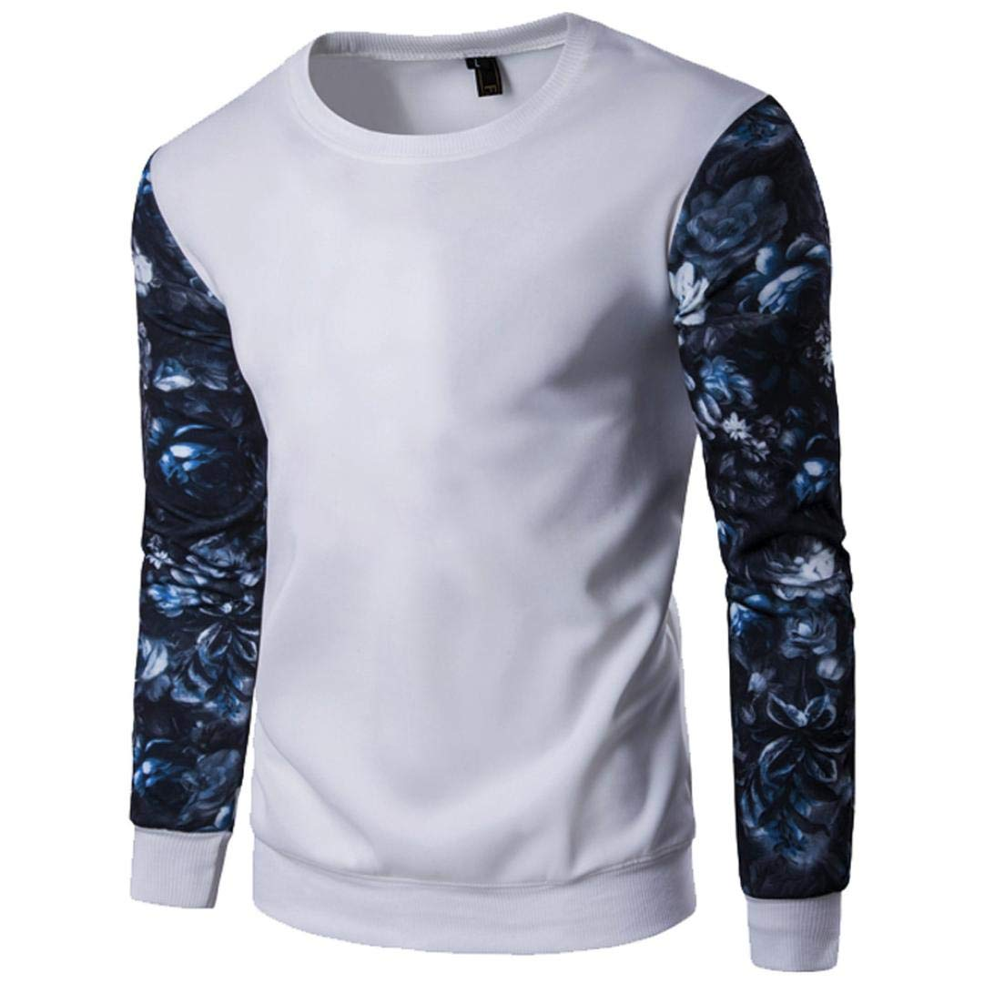 kaifongfu Mens Tops,Stitching Color Slim Long Sleeve Flower Printed Blouse Tops(White,M)
