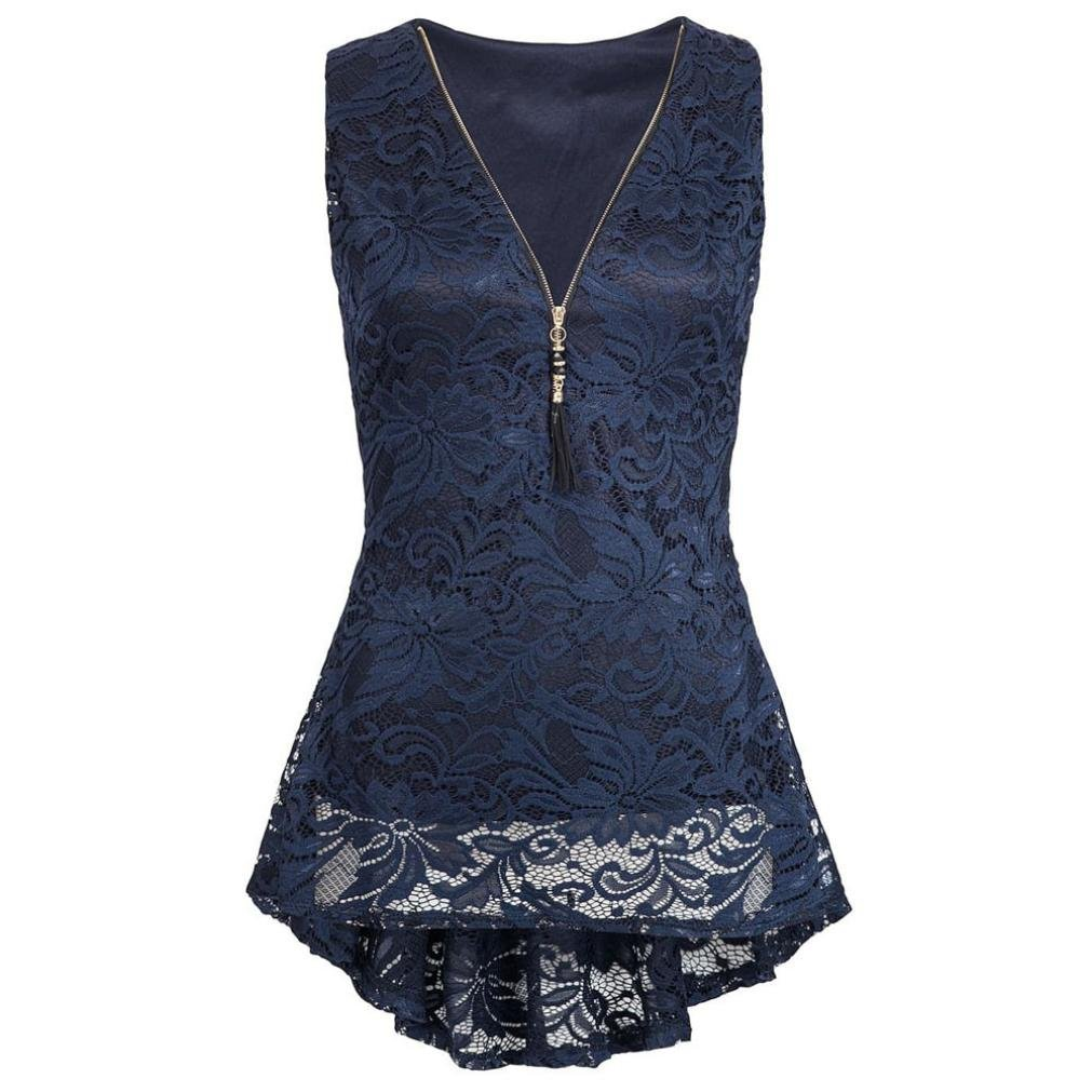 IMJONO Damen Women Floral Lace Zip up Tank Top ärmellose Slim Vest Pure T-Shirts IMJONO women Jun.17