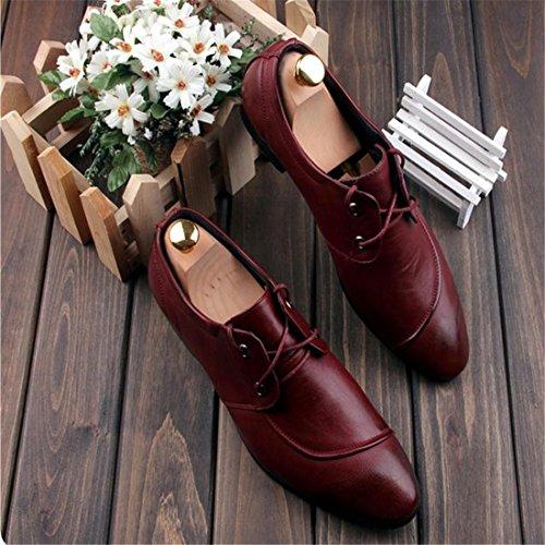 Mode Maenner Modische PU Leder New Design High End Atmungsaktiv Kleid Schuhe New Rot
