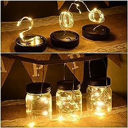 Abkshine 3 Pack Solar Mason Jar Light Lid Insert, 10 LED Warm White Solar Powered Table Deck Lamp LED Firefly Fairy Lights for Wedding Christmas Holiday Party Decor(Jars Not Included)