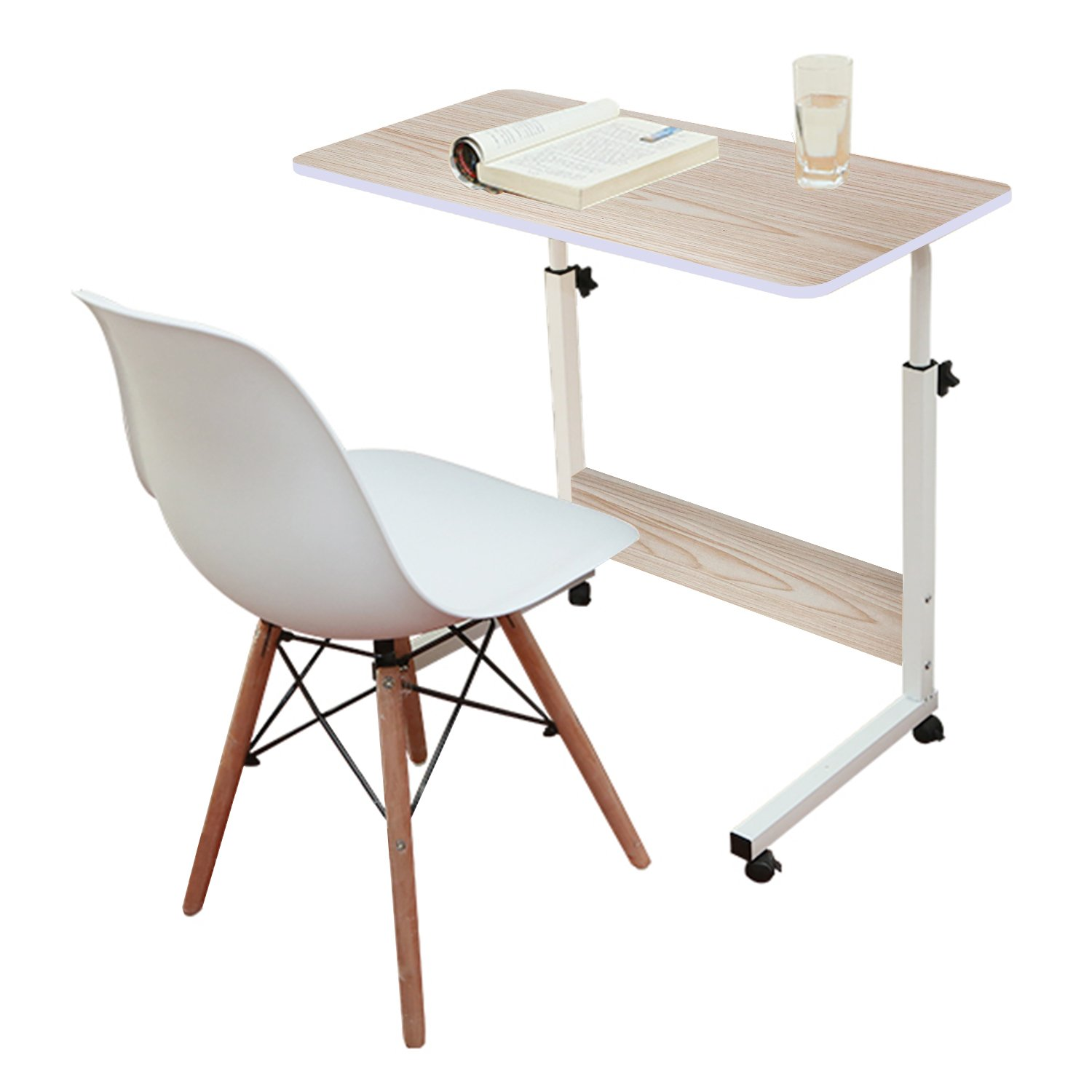 Jerry & Maggie - Adjustable Height Desk Laptop Desk Office Home Movable Table Bedside Lapdesk With 4 Wheels Flexible Wooden Stand Desk Cart Tray Side Table - White Wood Tone