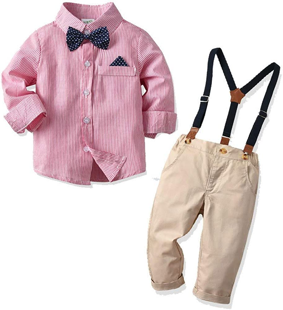 1-8Y torawy Baby Kids Clothes Set Toddler Kid Baby Boys Outfit Bow Tie Stripe Shirt+Pants Overalls Gentleman Suit
