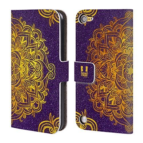 Head Case Designs Dorato Mandala Doodles Cover a portafoglio in pelle per iPod Touch 5th Gen / 6th Gen
