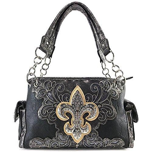 Justin West Fleur De Lis Angel Wings Concealed Carry Handbag Purse (Black (Fleur De Lis Flap)