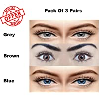 Sparkle Eye Combo Pack of 3 (Grey,Brown & Blue) Monthly Color Contact Lenses (Zero Power) with Free Lens Solution & 3 Lens Case/Container Kit