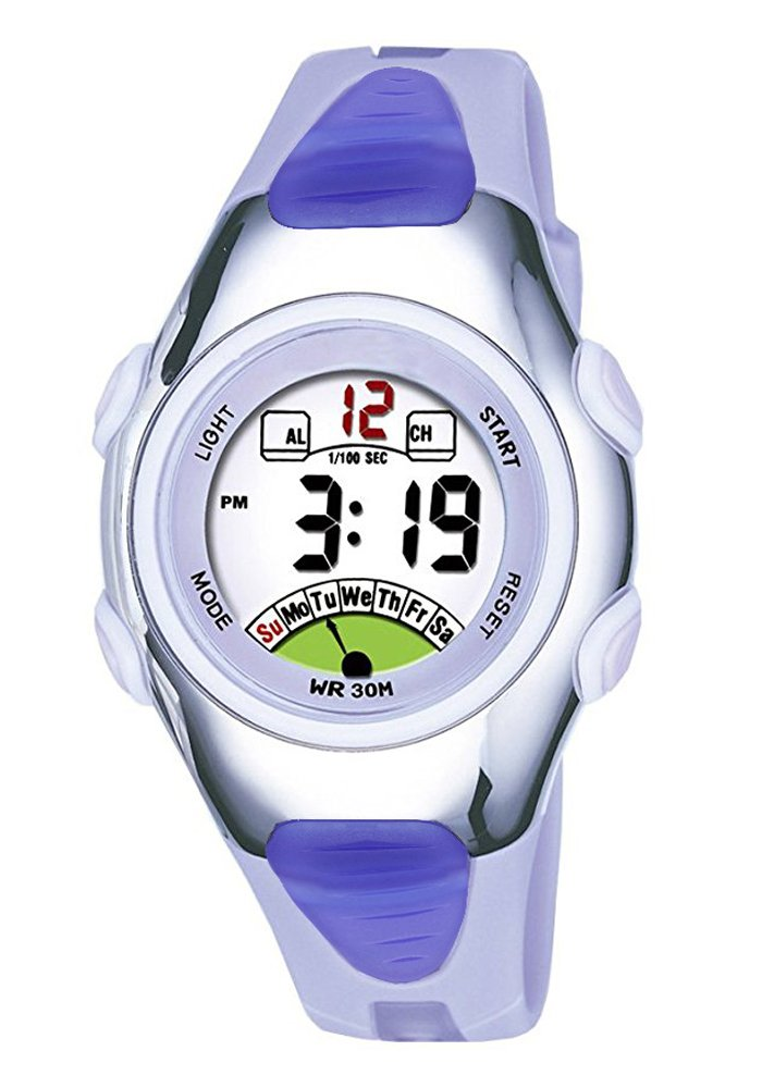 Outdoors Sports Digital Girls Watches Kids Multi Functions Led Water Resistant Wrist Watch for Girls Silver/Purple by AZLAND