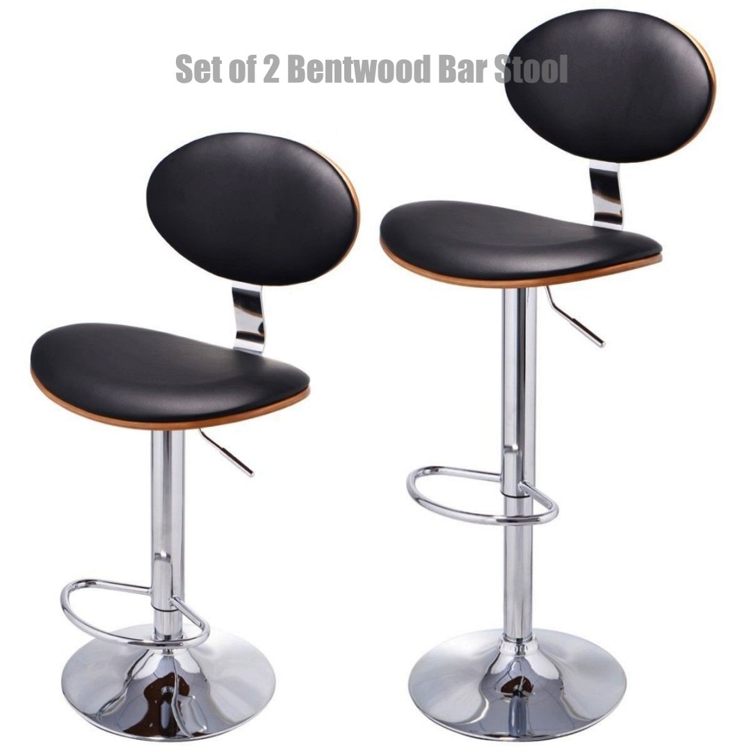 Contemporary Bentwood Bar Stool Adjustable Height 360 Degree Swivel Durable PU Leather Upholstery Seat Stable Footrest Chrome Steel Frame Pub Chair - Set of 2 #1097